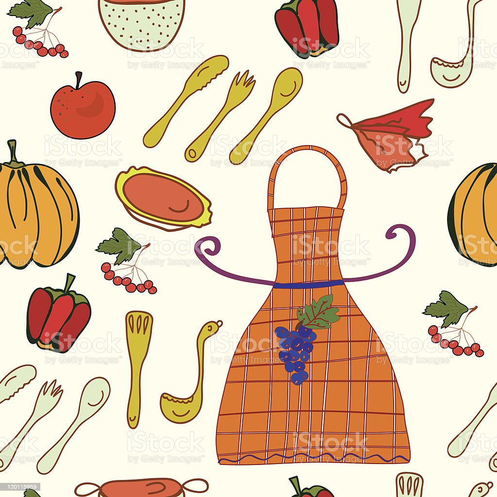 Kitchen seamless funny pattern royalty-free kitchen seamless funny pattern stock vector art & more images of apple - fruit
