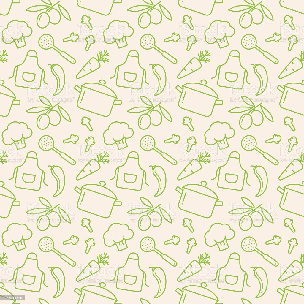 Kitchen Seamless Pattern Vector Background Stock Vector Art & More ...