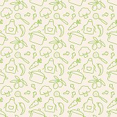 Food and kitchen seamless pattern. Cute background with line icons for culinary theme. Vector illustration.
