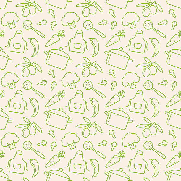 Kitchen seamless pattern. Vector background. Food and kitchen seamless pattern. Cute background with line icons for culinary theme. Vector illustration. cooking stock illustrations