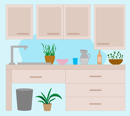 Kitchen set. Cabinets, a shelf with utensils. Kitchen utensils and items. Decor. Indoor flowers. Home interior.