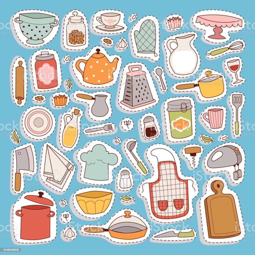 Kitchen set icon vector art illustration