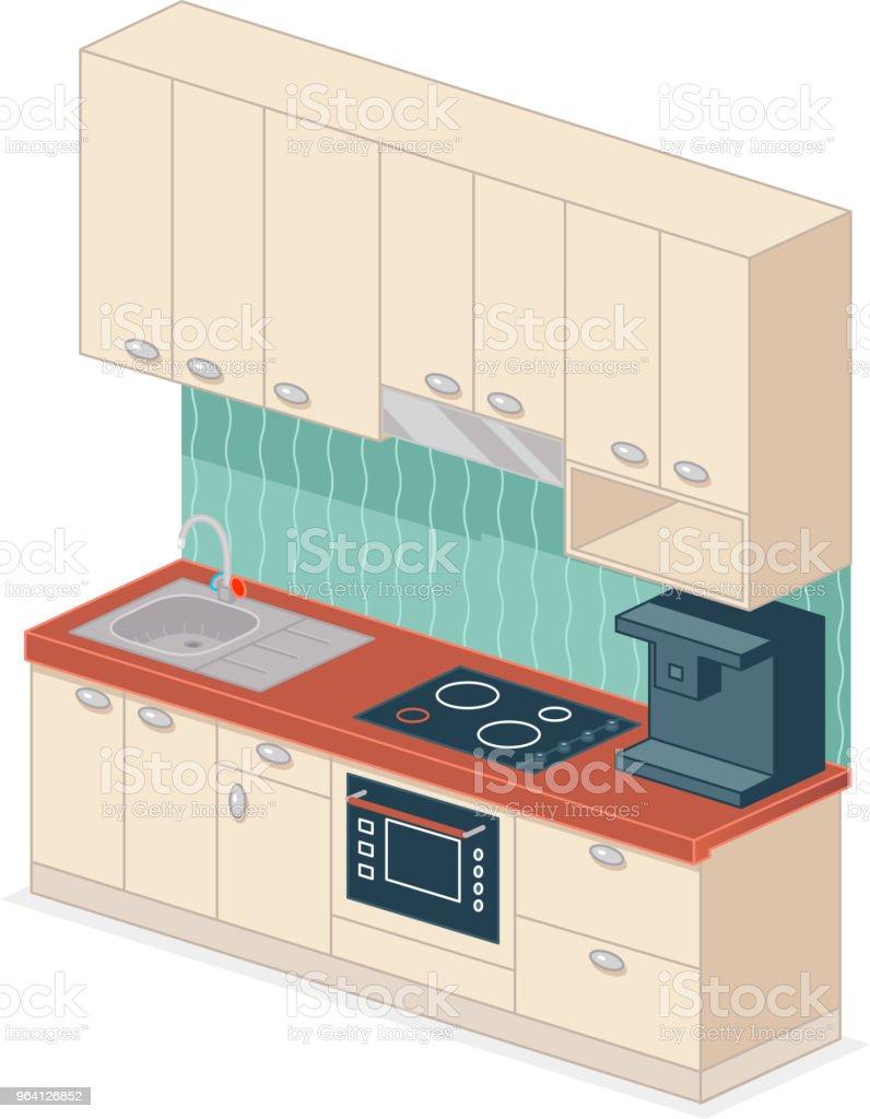 Kitchen Set Isometric Design Vector Illustration Stock Vector Art ...