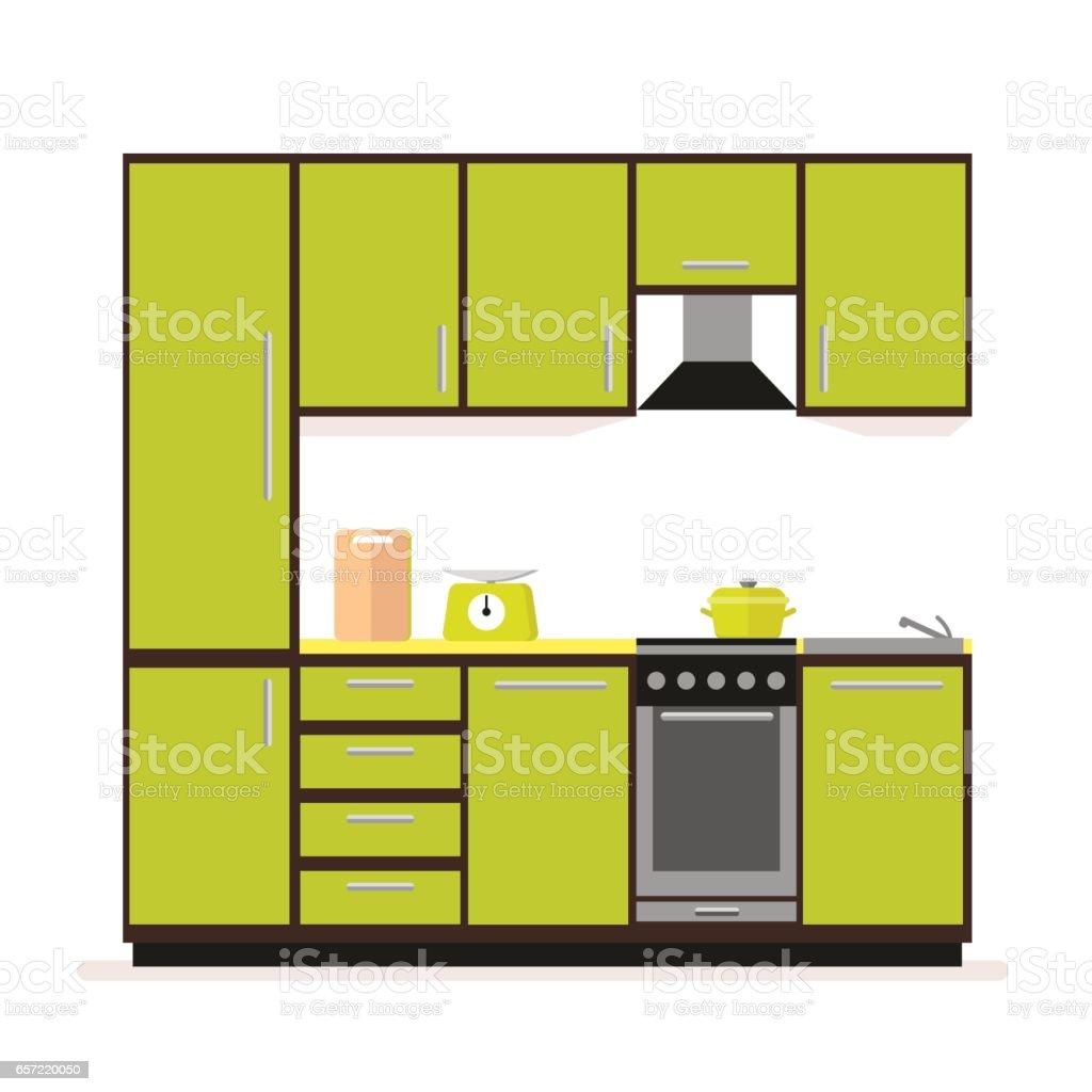 Ilustración de Set De Cocina Muebles De Cocina Moderna En Un Estilo ...