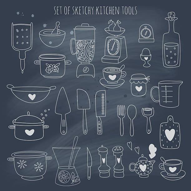 Kitchen set set on blackboard vector art illustration
