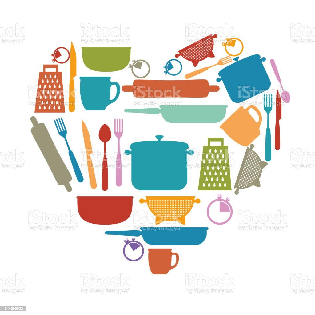 Kitchen Set Utensils Icons Stock Vector Art & More Images of Coffee ...