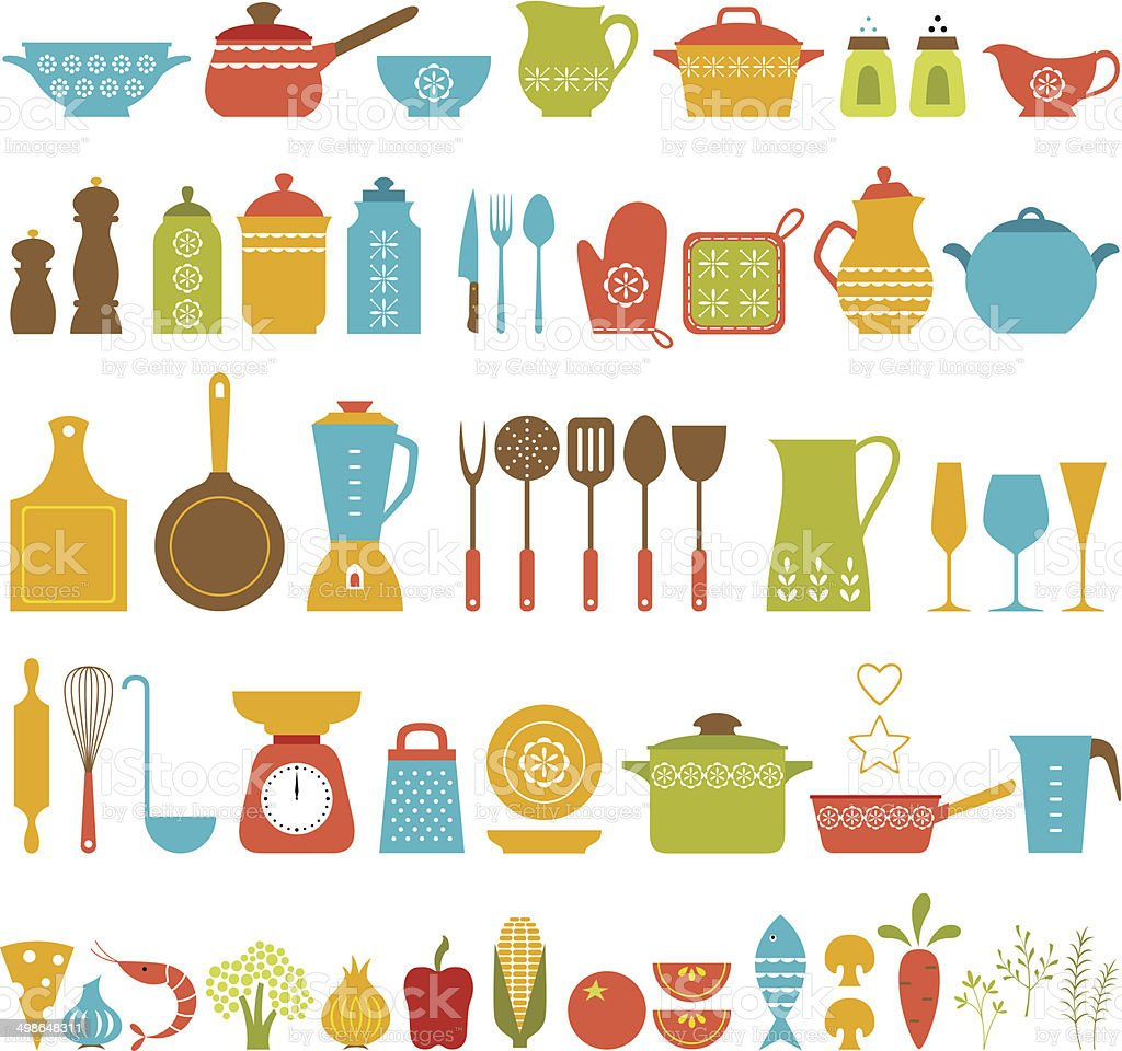 Set of kitchen utensils and food for cooking.