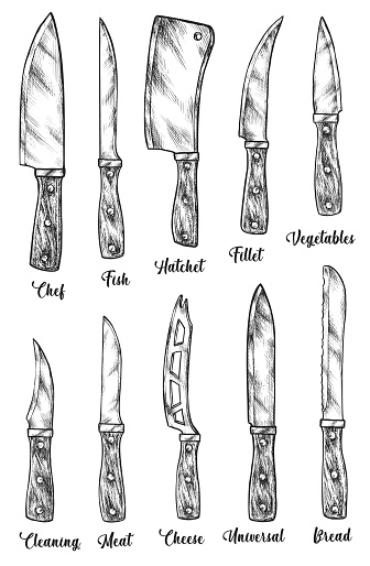 Kitchen sharp knife tool type isolated sketch set