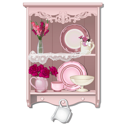 Kitchen shelf with dishes and flowers. Vector illustration