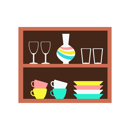 Kitchen shelves with dining utensils