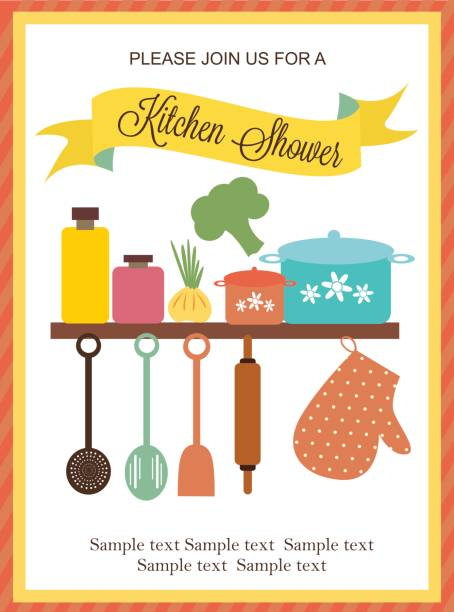 illustrazioni stock, clip art, cartoni animati e icone di tendenza di kitchen shower card - chef triste