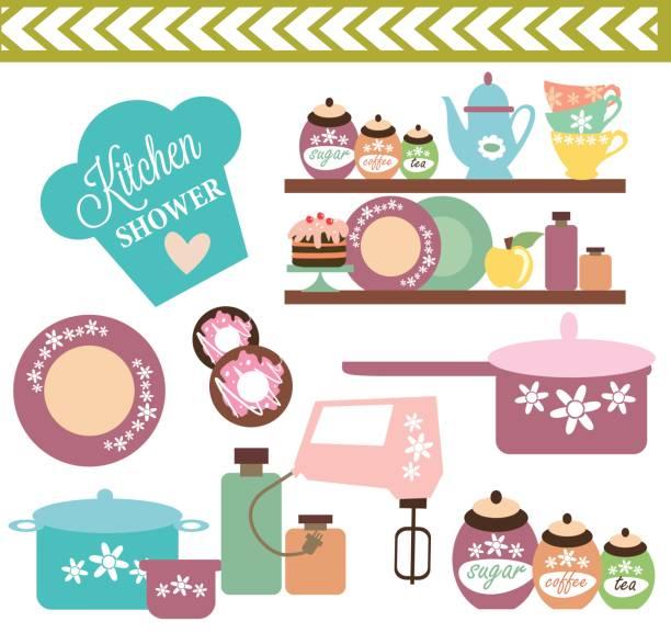 Kitchen shower card vector art illustration