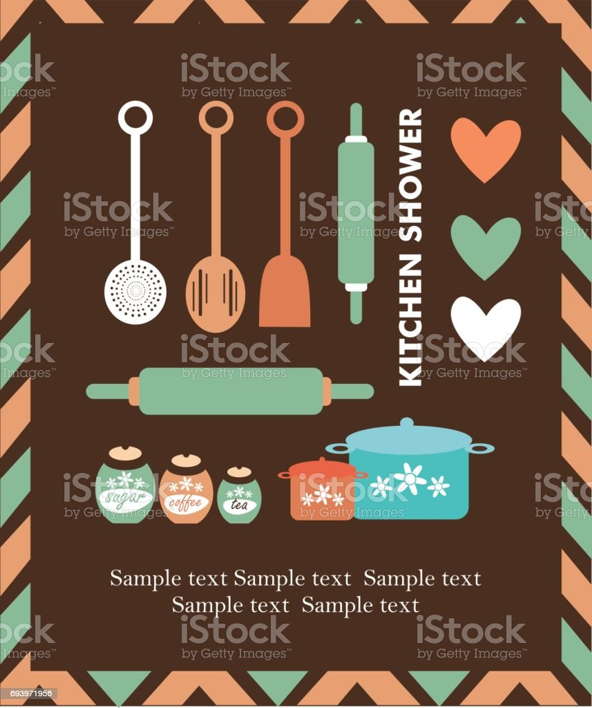 Kitchen shower card vector art illustration