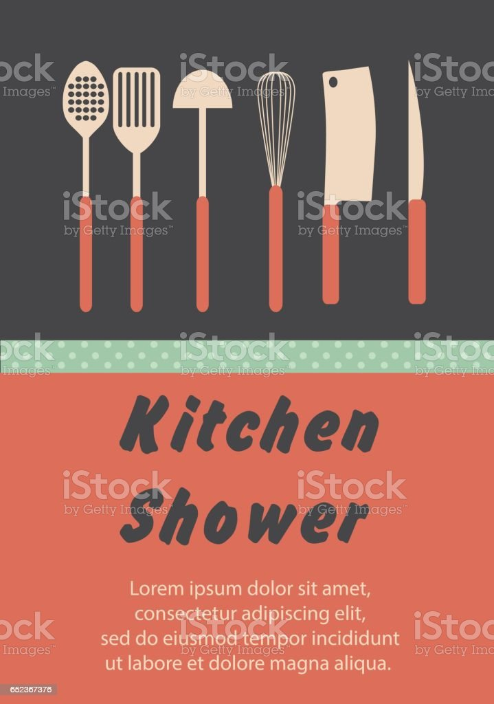 Kitchen Shower invitation card vector art illustration