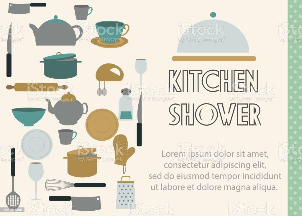 Ilustración De Tarjeta De Invitación De Ducha Cocina Y Más