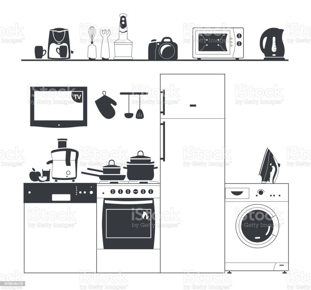 Silhouette Kuchengerate Waschmaschine Kaffeemaschine Topfe Und