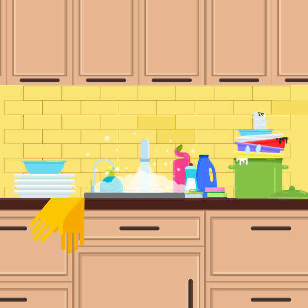 Messy Kitchen Counter: Best Messy Kitchen Illustrations, Royalty-Free Vector