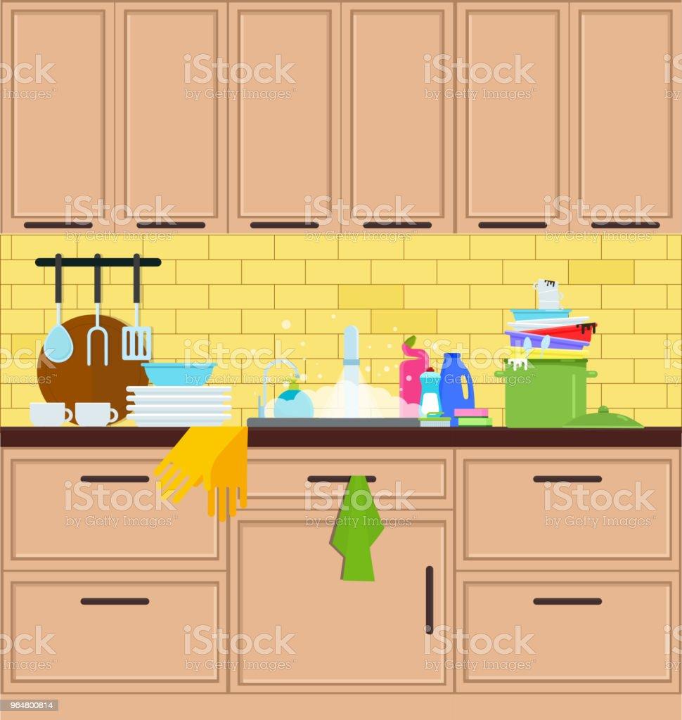 Kitchen sink. Crane in the kitchen. Vector flat illustration royalty-free kitchen sink crane in the kitchen vector flat illustration stock vector art & more images of belarus