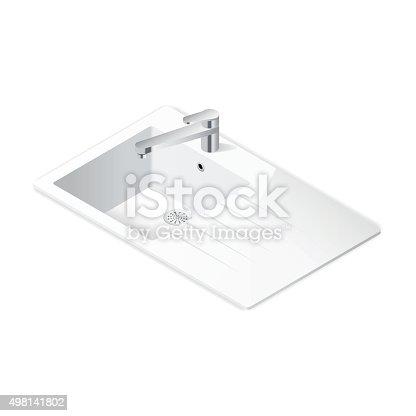 Kitchen sink isometric icon vector grasphic illustration