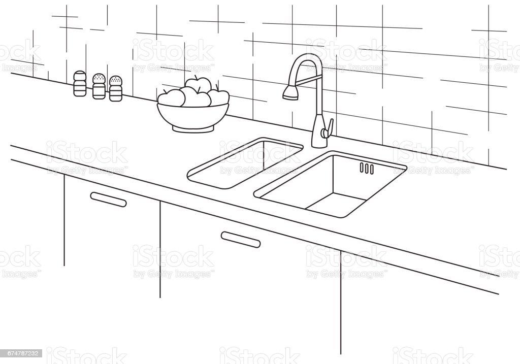 Küchenspüle Küchenarbeitsplatte Mit Waschbecken Im Linienstil ...