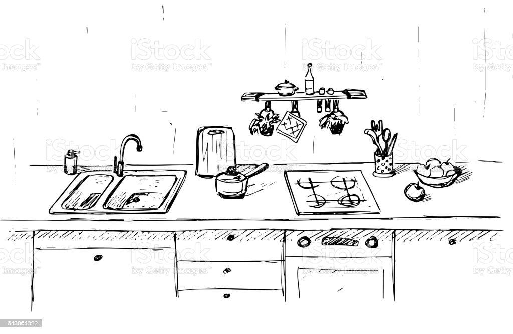 Kitchen Sink Kitchen Worktop With Sink The Sketch Of The Kitchen ...
