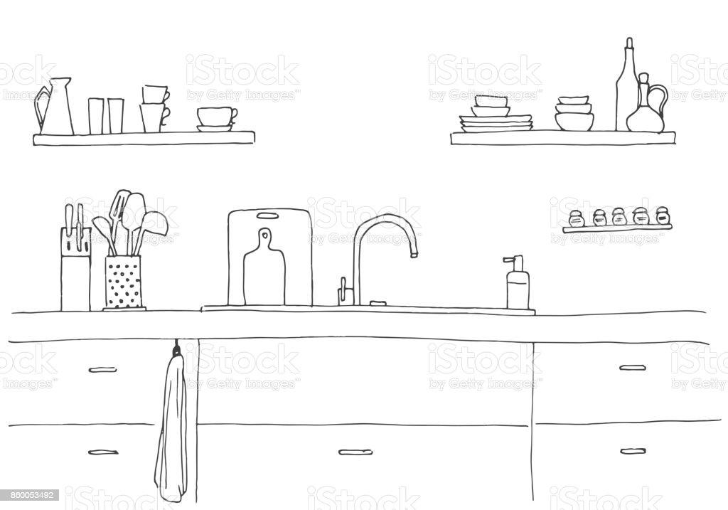 Ilustración de Fregadero De Cocina Encimera De Cocina Con Fregadero ...