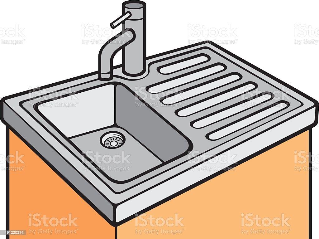 kitchen sink vector art illustration