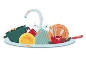 Kitchen sink with dirty dishes. Housework. Isolated illustration.