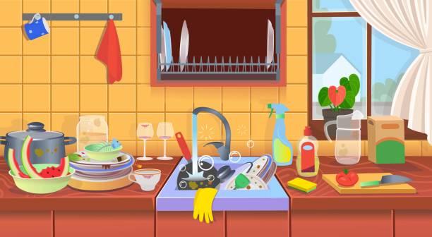 598 Kitchen Mess Illustrations Clip Art Istock