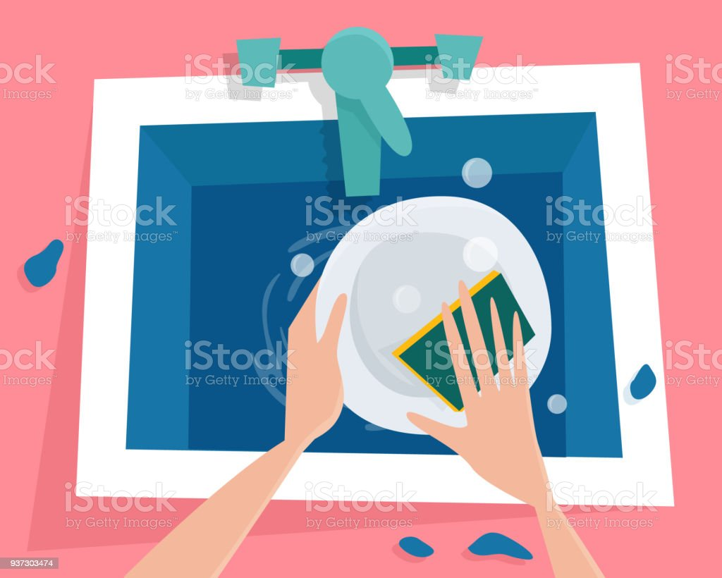 Kitchen Sink With Water Hands Wash The Plate Stock Vector Art & More ...