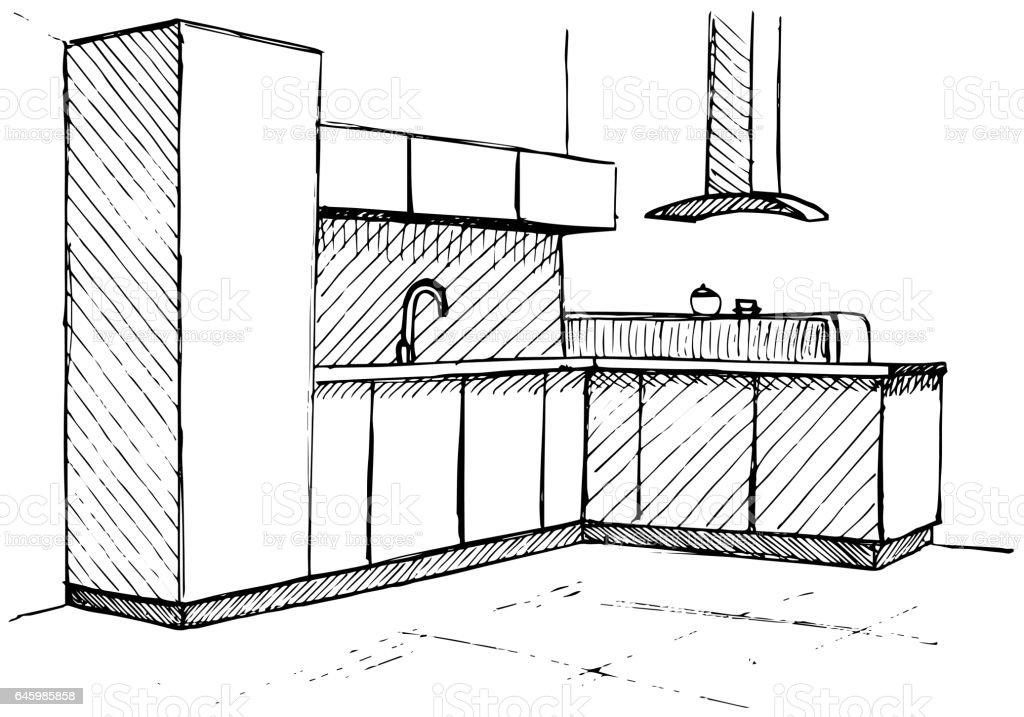 Küchenplan küchenplan skizze handgemachte vektorillustration stock vektor