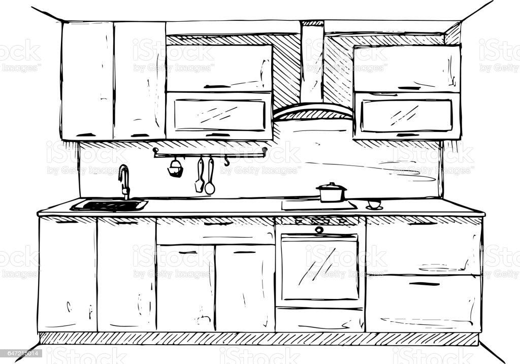 Kitchen Sketch Plan Hand Made Vector Illustration Stock