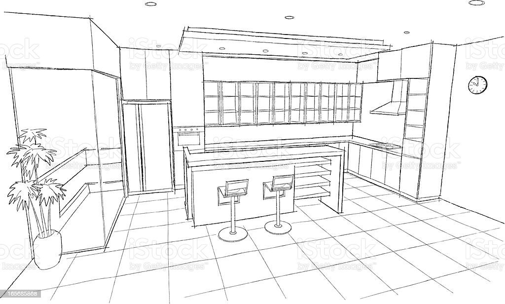 Kitchen sketch stock vector art 165685868 istock for Interior designs kitchen sketches