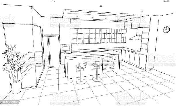 Kitchen sketch vector id165685868?b=1&k=6&m=165685868&s=612x612&h=xsvnwuj40vadxlc2kwluxk0qr7dz6fbtvkumt2te4zk=