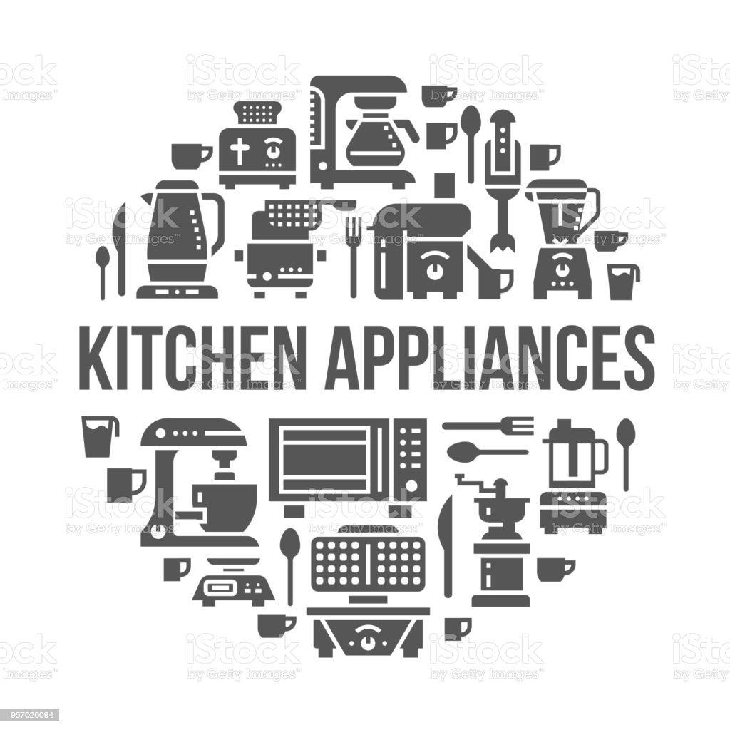 Küche Kleingeräte Geräte Banner Abbildung Vektorglyphicons Von ...