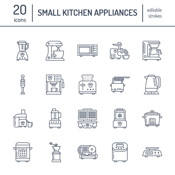ilustrações de stock, clip art, desenhos animados e ícones de kitchen small appliances line icons. household cooking tools signs. food preparation equipment - blender, coffee machine, microwave, toaster, meat grinder. thin linear signs for electronics store - baking bread at home