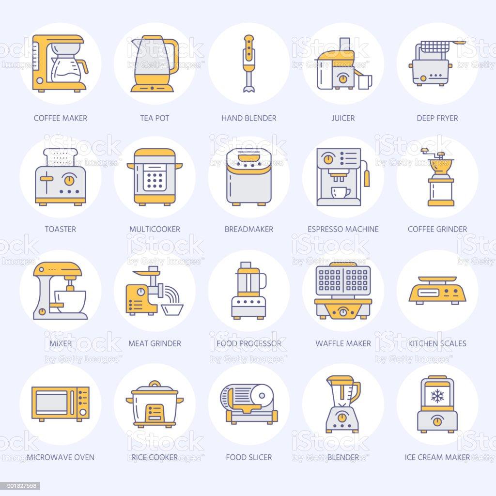 Küche Kleingeräte Linie Symbole Haushalt Küche Werkzeuge Zeichen ...