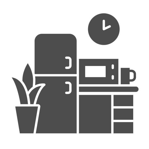 illustrations, cliparts, dessins animés et icônes de icône solide de cuisine, concept de coworking, signe de meubles sur fond blanc, icône de cuisine de bureau dans le modèle de glyphe pour le concept mobile et la conception web. graphiques vectoriels. - abstract mirror