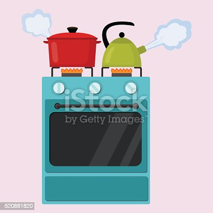 Kitchen stove flat style isolated vector illustration. Boiling pot and kettle on the stove. Preparing food, cooking.