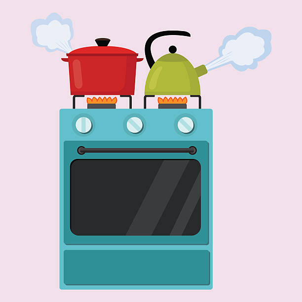 Kitchen Stove Flat  Vector Illustration Kitchen stove flat style isolated vector illustration. Boiling pot and kettle on the stove. Preparing food, cooking. oven stock illustrations