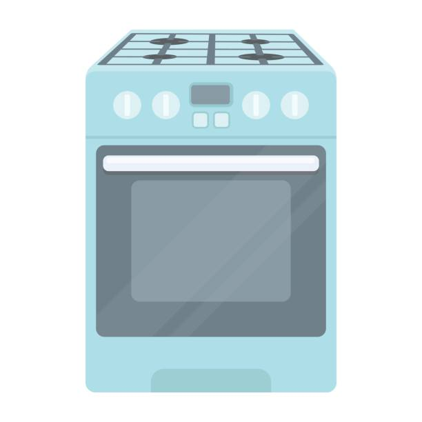 Kitchen stove icon in cartoon style isolated on white background. Household appliance symbol stock vector illustration. Kitchen stove icon in cartoon style isolated on white background. Household appliance symbol vector illustration. oven stock illustrations