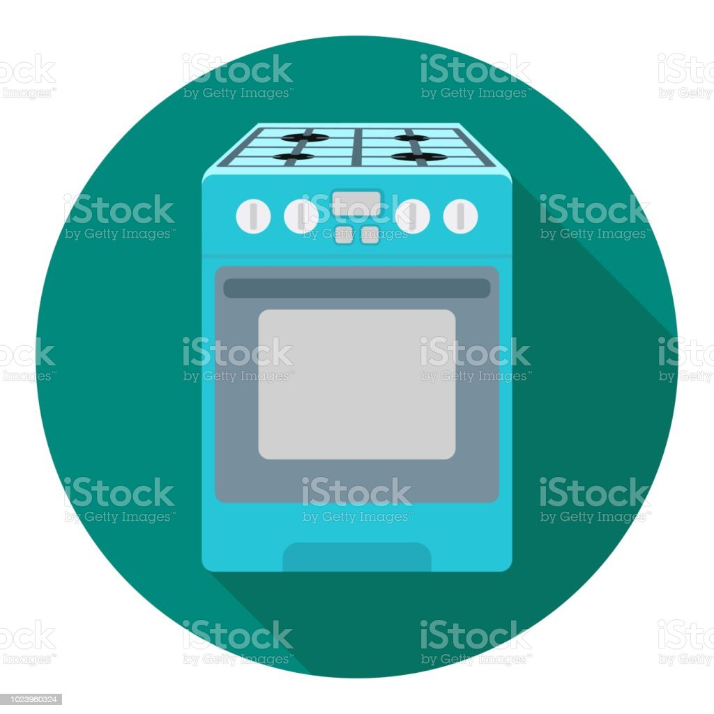 ce72f322c6 Kitchen stove icon in flat style isolated on white background. Household  appliance symbol stock vector illustration. - Illustration .