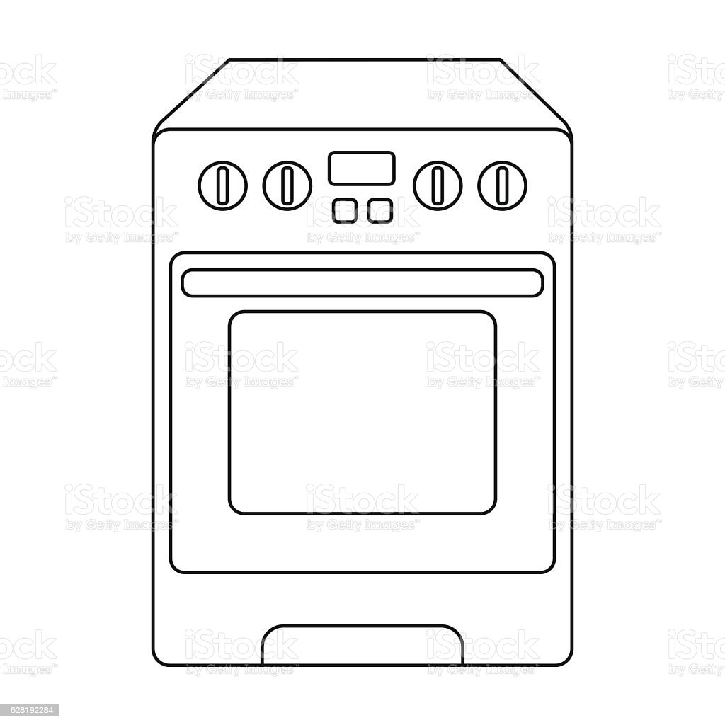 kitchen stove icon in outline style isolated on white