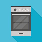 kitchen stove icon with long shadow. flat style illustration