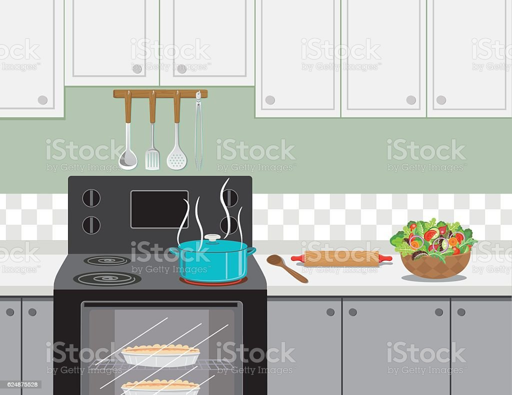 Kitchen Stove With A Pot Of Soup Cooking vector art illustration