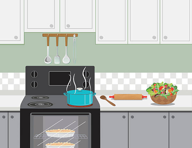 Kitchen Stove With A Pot Of Soup Cooking Kitchen Stove With A Pot Of Soup Cooking. There are kitchen cabinets and a backsplash., A bowl of salad and a rolling pin rest on the counter. stove stock illustrations