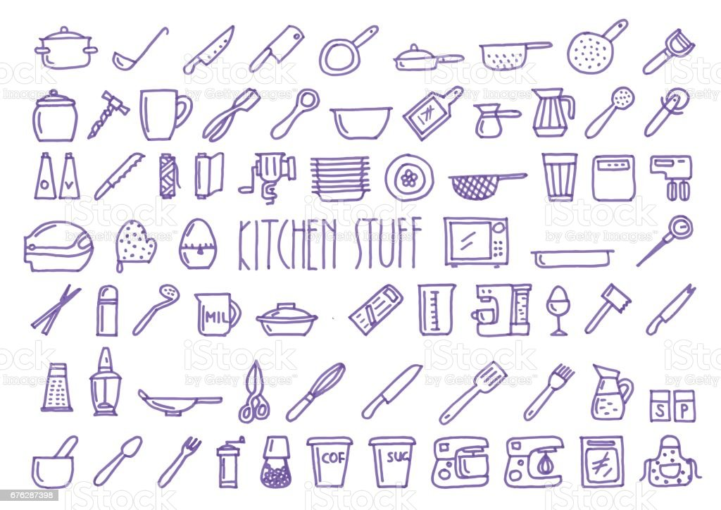 Kitchen stuff hand drawn blue icons set vector art illustration