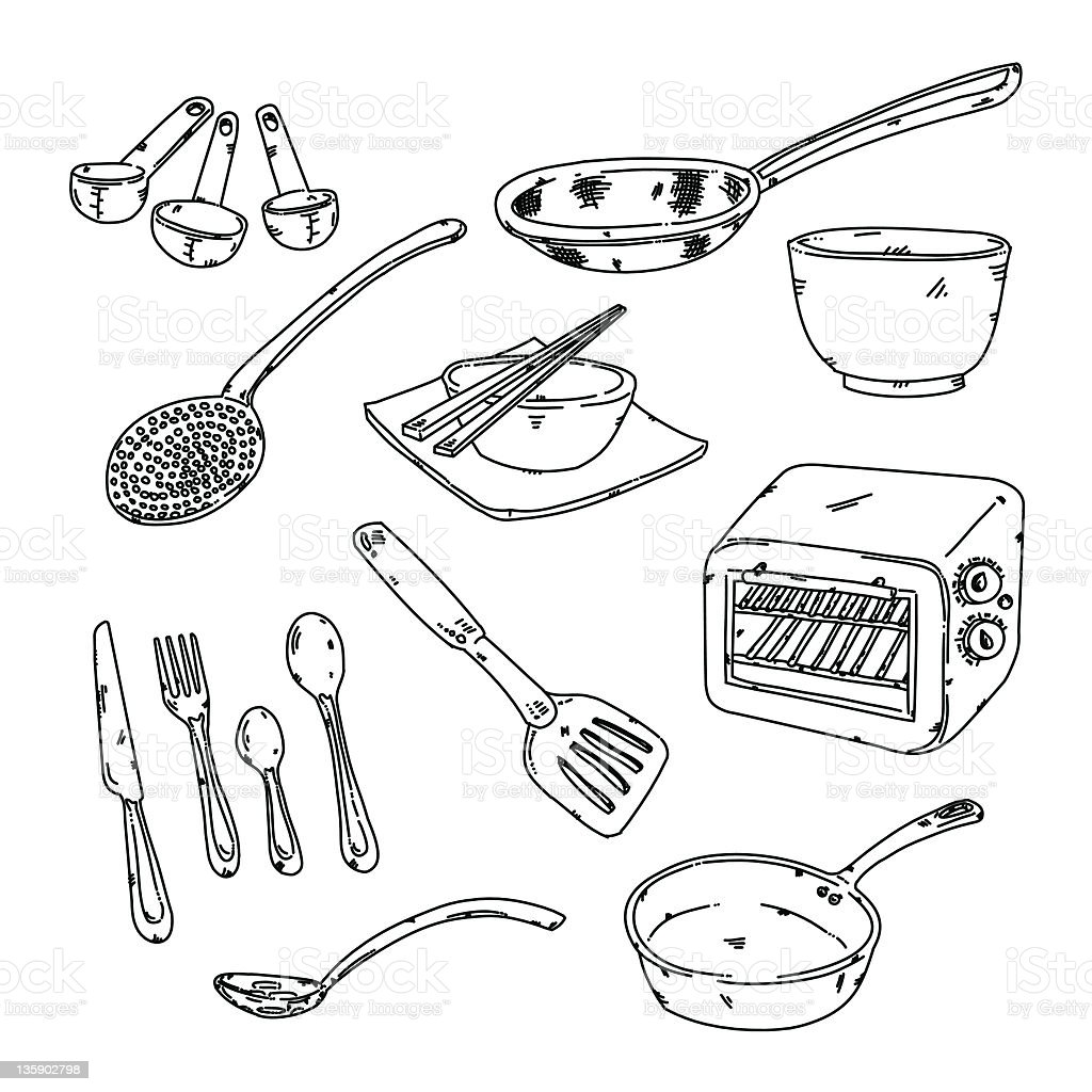 Kitchen Stuff Stock Vector Art & More Images of Appliance 135902798 ...
