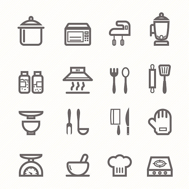 Set Of Black Kitchen Icons Utensils Stock Vector: Royalty Free Chef Hat Clip Art, Vector Images
