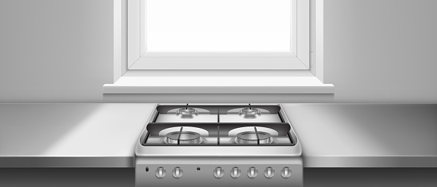 Kitchen table and gas stove with hobs